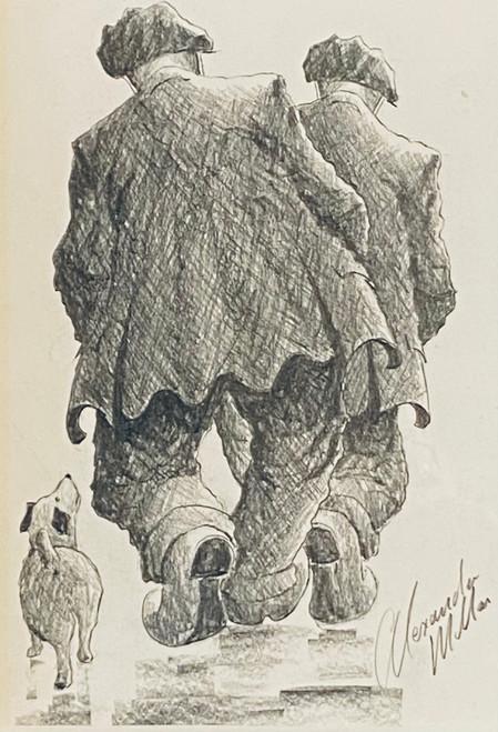 Walkies for Three is an original pencil drawing by Alexander Millar.