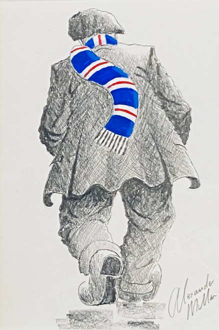 Heading Home from Ibrox is an original pencil drawing by Alexander Millar.