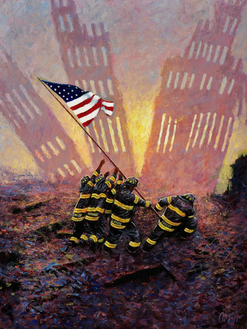 A New Dawn is an original oil painting by Scottish artist Alexander Millar. It prortrays a dramatic scene in the aftermath of 9-11.