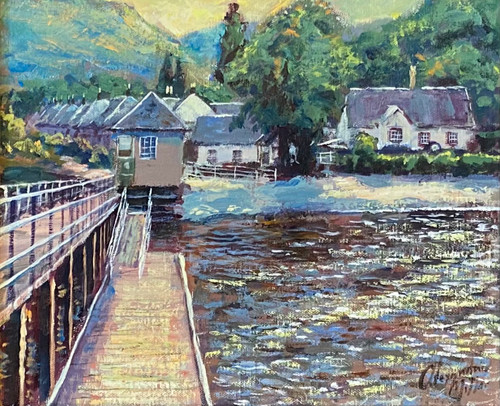 The Pier at Luss is an original oil painting by Alexander Millar.