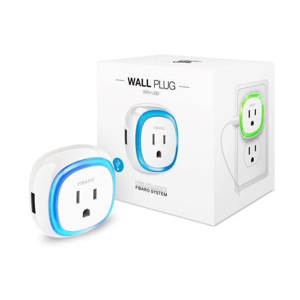 FIBARO Z-Wave Plus Wall Plug Switch With USB Charger Plug