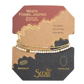 Delicate Wrap Bracelet - White Fossil/Gold