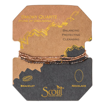 Delicate Wrap Bracelet - Smoky Quartz/Rose Gold