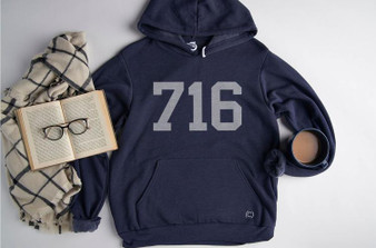 716 Hoodie - Heather Navy/White