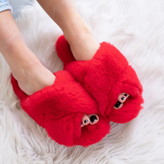 Fuzzy Cross Slippers