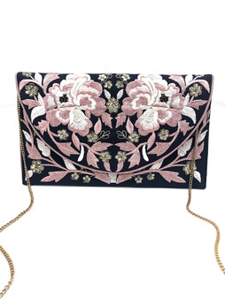 Embroidered Clutch - Black/Blush Floral