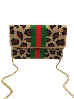 Beaded Clutch - Cheetah w/Green & Red Stripe