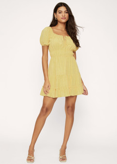 Summer Checklist Mini Dress - Yellow