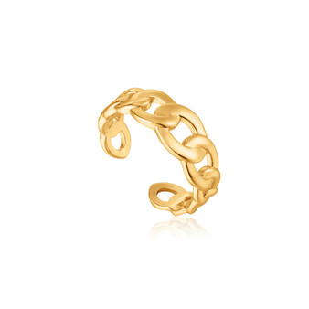 Curb Chain Adjustable Ring - Gold