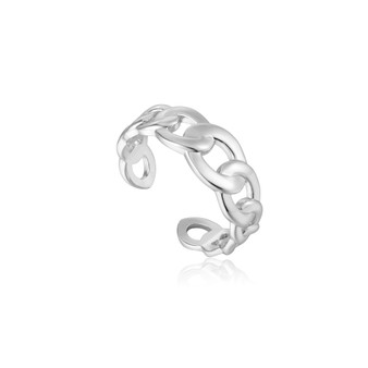 Curb Chain Adjustable Ring - Silver