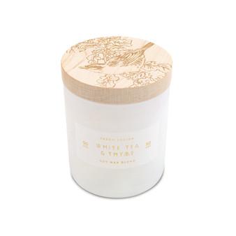 Small Print Block Candle - White Tea & Thyme