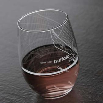 Buffalo NY Map Stemless Wine Glass