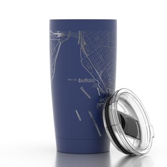 Buffalo NY Map 20oz Insulated Tumbler - Midnight Blue
