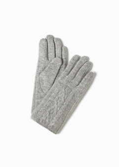 Half Cable Wool Gloves - Grey