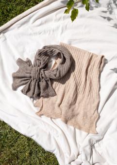 Crochet Keyhole Scarf - Tan
