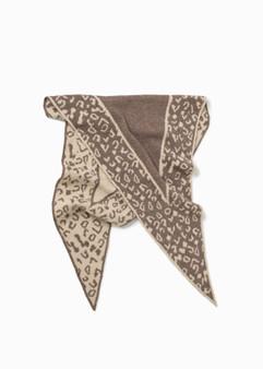 Leopard Diamond Scarf - Taupe