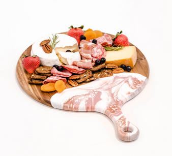 """Acacia Resin Cheeseboards - Rose Gold - 12"""" Round w/handle"""