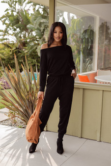 French Terry Long Sleeve Jumpsuit - Black