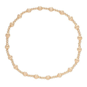 Dignity Sincerity Pattern 4mm Bead Bracelet Gold