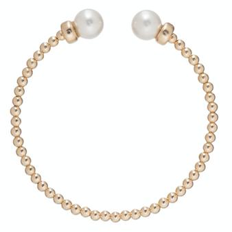 Classic Gold 3mm Bead Cuff - Pearl