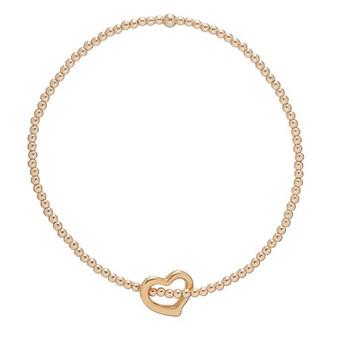 Classic Gold 2mm Bead Bracelet - Love Charm