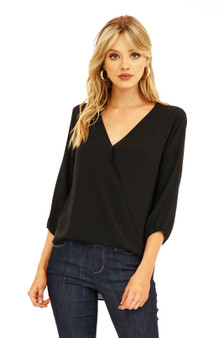 3/4 Sleeve Surplice Blouse