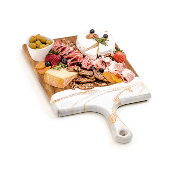 """Acacia Resin Cheeseboards - White/Grey/Gold - Large 10""""x20"""""""