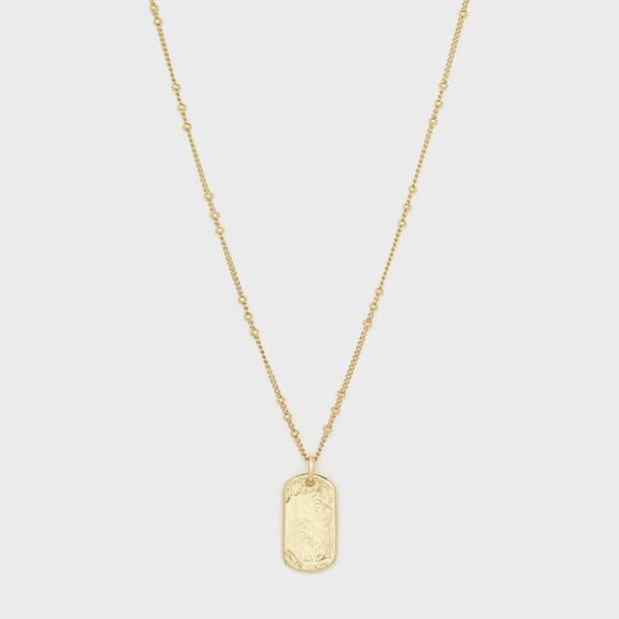 Griffin Gem Dog Tag Necklace - Gold