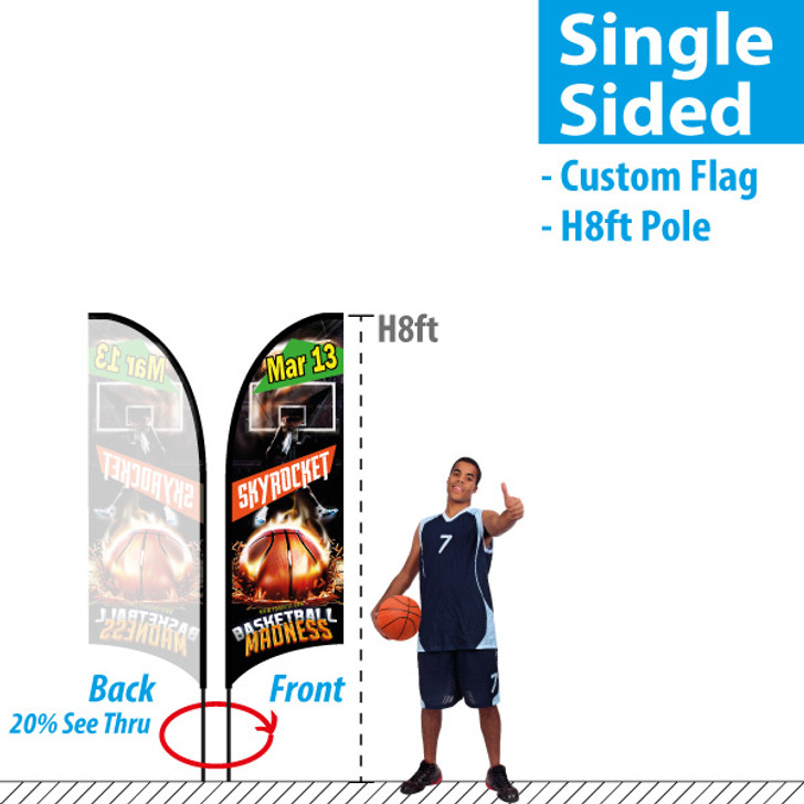 H8ft Feather Flag (Single Sided full color custom printing)