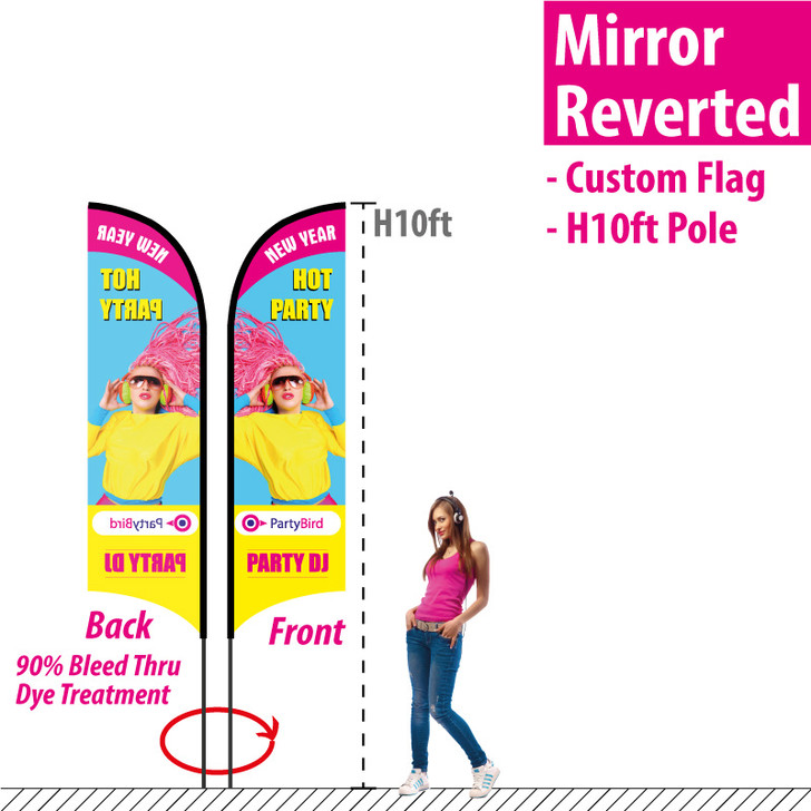 H10ft Feather Flag (Mirror Reverted image dye bleed through on the Back)
