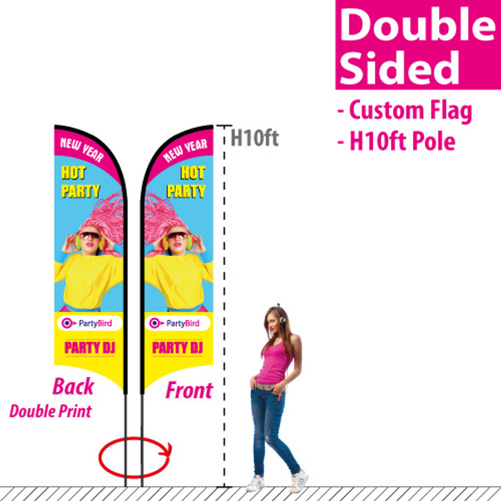 H10ft Feather Flag (Double Sided custom printing)