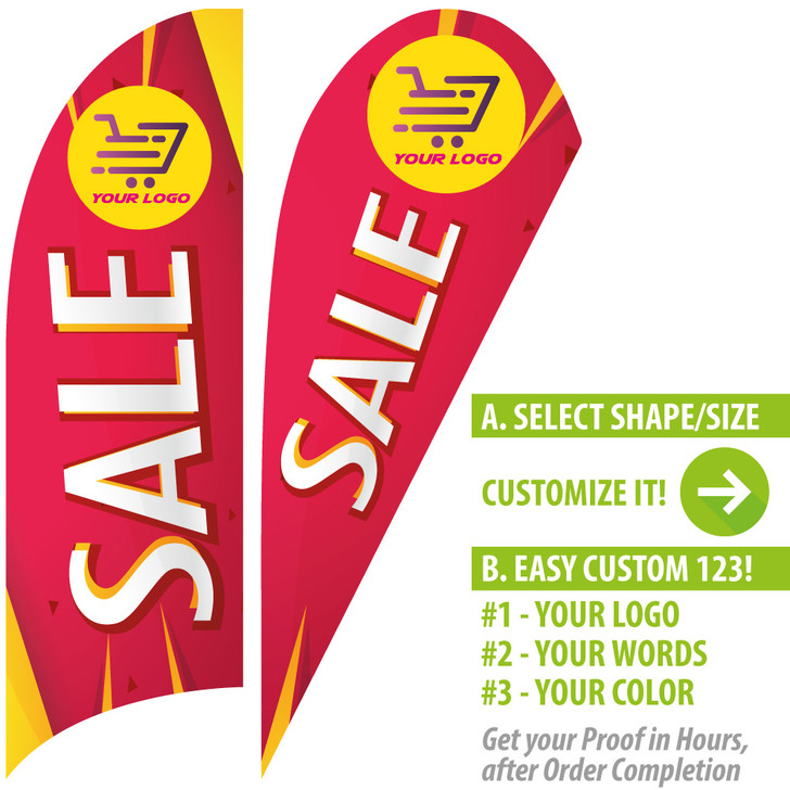 SALE! Red Star with Yellow Feather Flags + your own custom logo or any sells messages