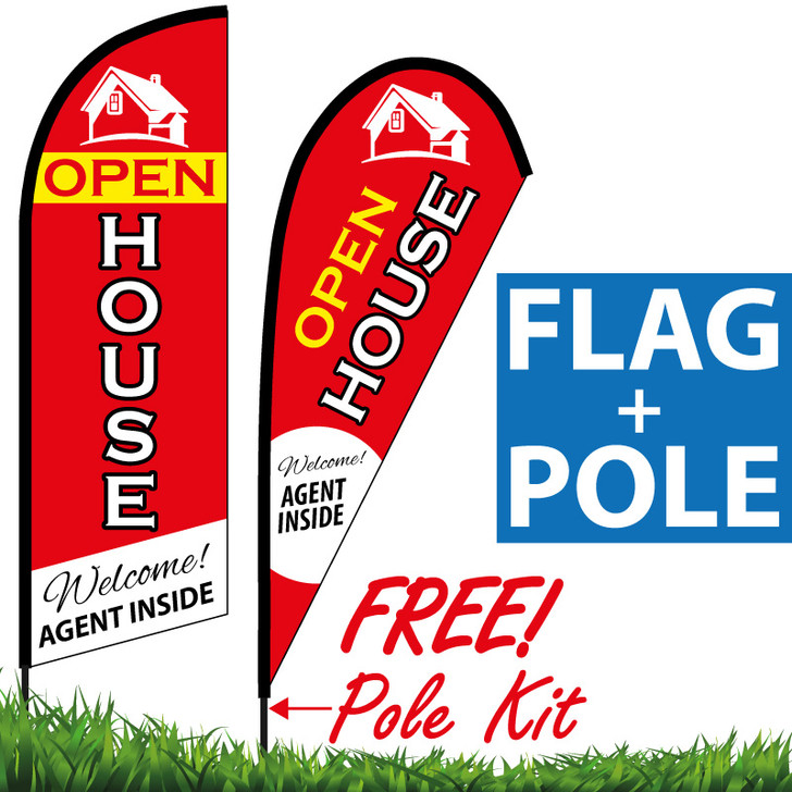 OPEN HOUSE Feather Flag - Welcome! Agent Inside (Red Banner with Yellow/White Words)
