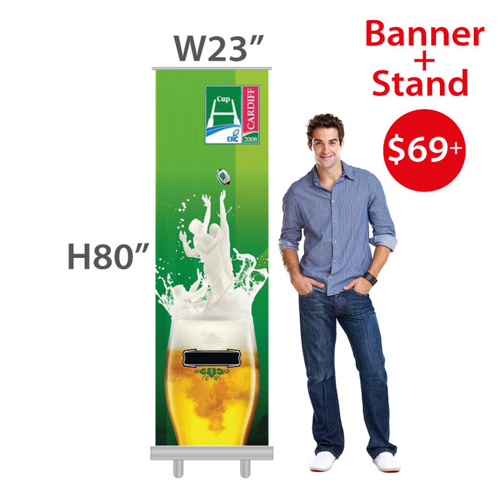 "W23""xH80"" Retractable Banner Stand + Full Color custom printing on Vinyl Banner."