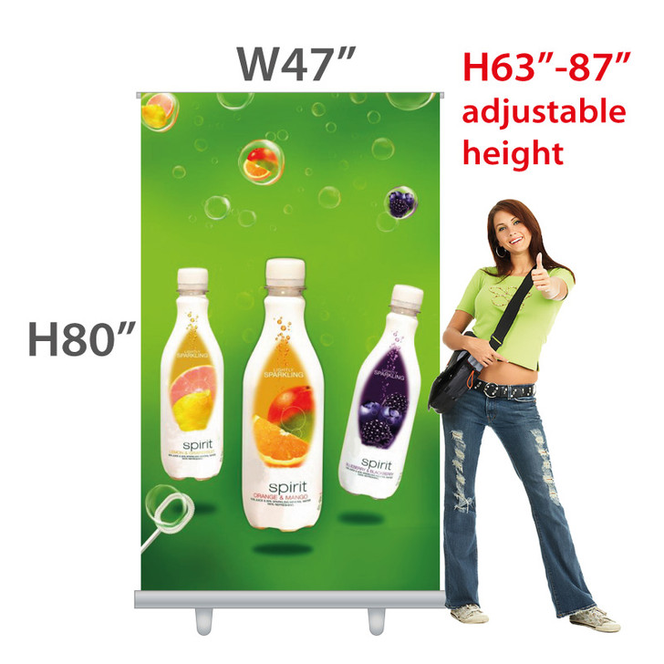 W47 inches PROFESSIONAL! Retractable Banner (Fabric) with Velcro Easy-change Banner feature