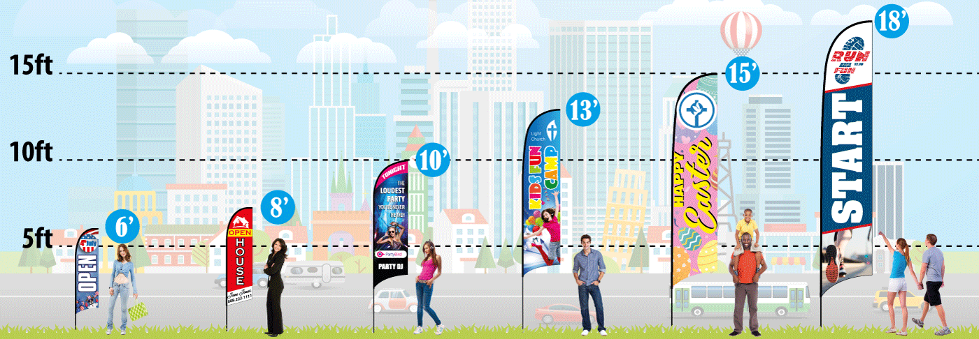 Feather Flags - Size & Pole Height | eyeBanner