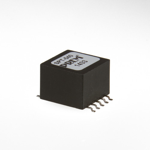 """SPT-040: 0.630"""" Sq. x 0.500"""" H, Surface Mount, Safety Critical Coupling Transformer"""