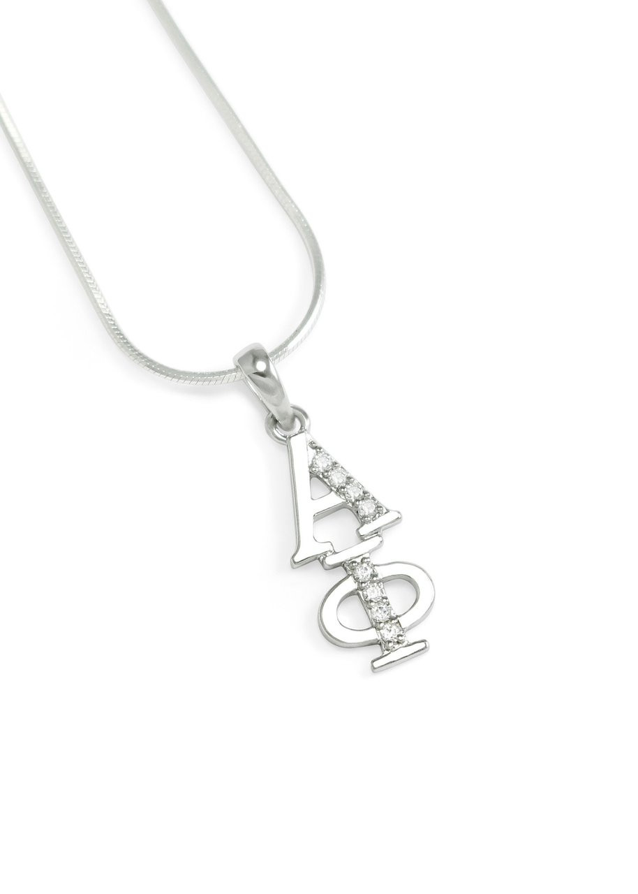 Phi Mu Sorority Sterling Silver lavaliere pendant w// simulated Crystal NEW