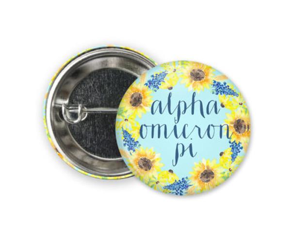 Alpha Omicron Pi Sunflower Button
