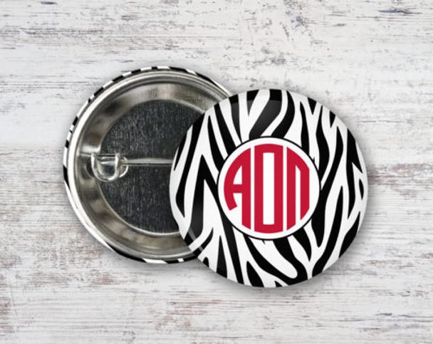 Alpha Omicron Pi Zebra Button