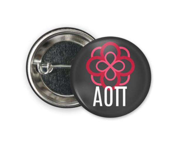 Alpha Omicron Pi Rose  Button
