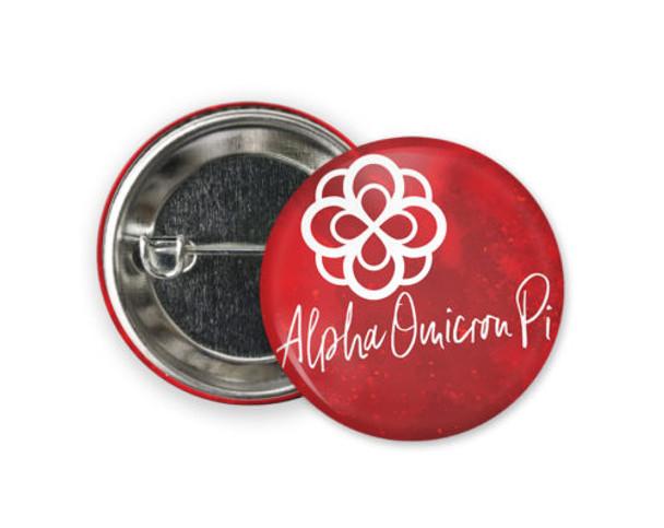 Alpha Omicron Pi Rose Watercolor  Button