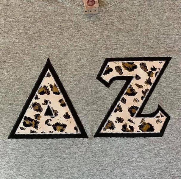 Custom Pink Cheetah Stitched Letter Shirt