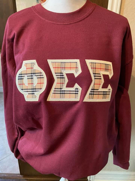 Large Maroon Phi Sigma Sigma Sweatshirt with Burberry letters (ready to ship)