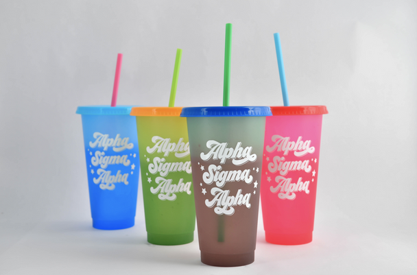 Color Changing Tumblers with lid and straw (shown in Alpha Sigma Alpha)