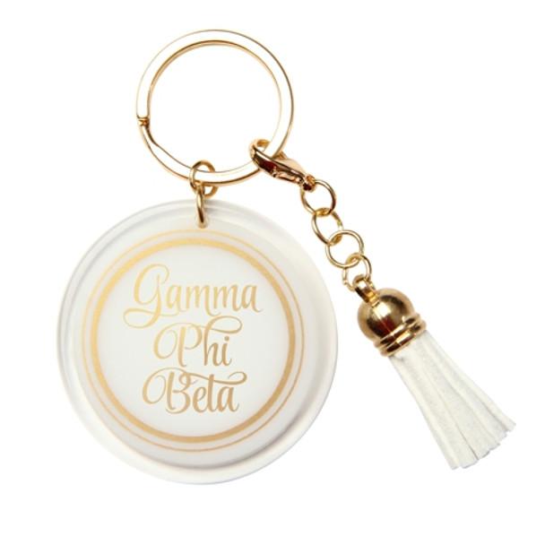 Gold and White Tassle Keychain
