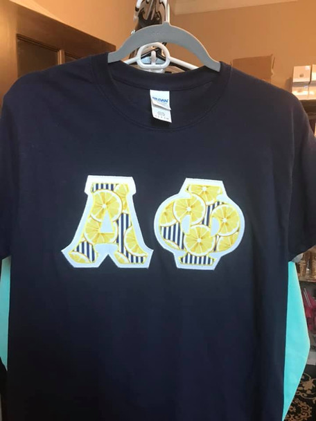 Small Navy Alpha Phi Letter Tee (ready to ship)