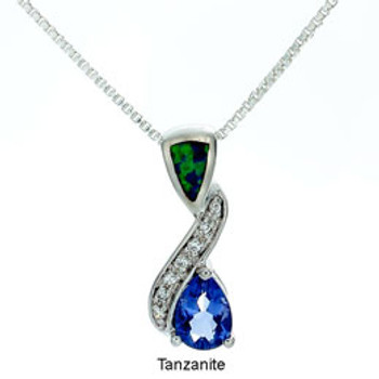 """Symphony"" Tachyon Tanzanite Pendant with Opal and CZ Accents Set in Silver"