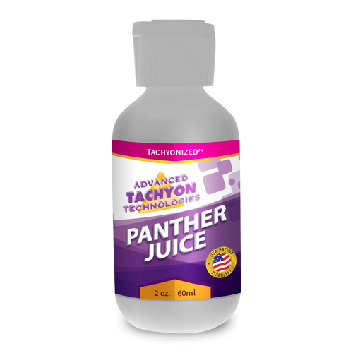 Tachyonized Panther Juice, a USA Tachyonization patent 100% organic energy product, delivers Tachyon directly to the source to relieve muscle,  joint and arthritis pain, swelling and strains
