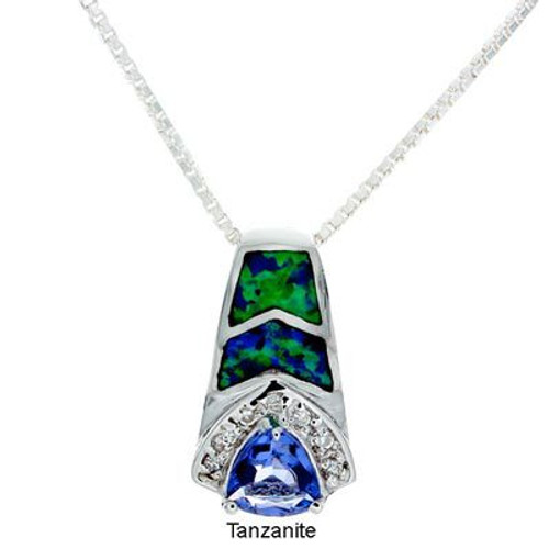 """Brilliance"" Tachyon Pendant with Opal and CZ Accents Set in Silver"
